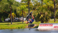 photo of wakeboarder air trick at ski rixen