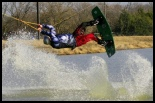 photo of Caden Hardin wakeboarding at wakezone cable park