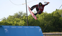 photo of pro wakeboarder benjamin hoppe on quarter pipe at hydrous